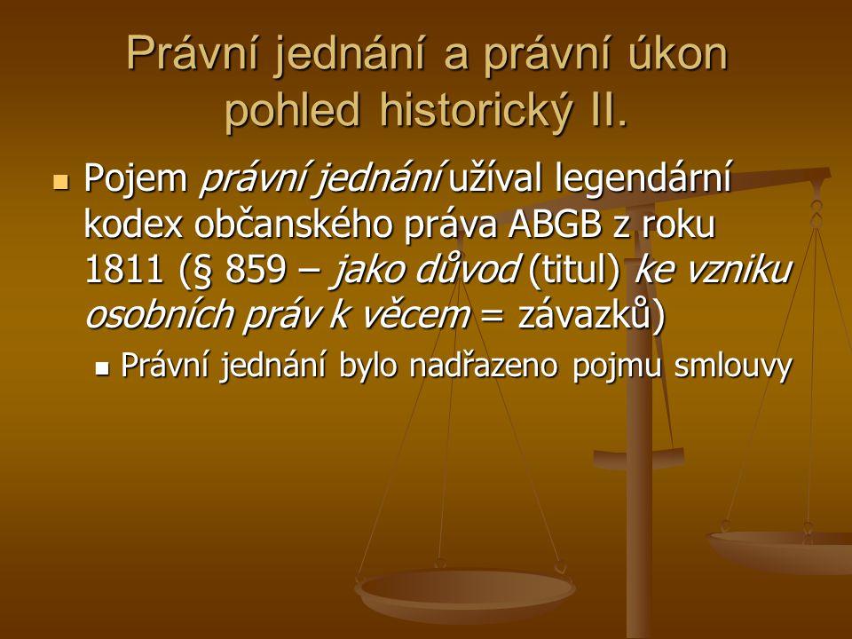 Právní jednání a právní úkon pohled historický II.
