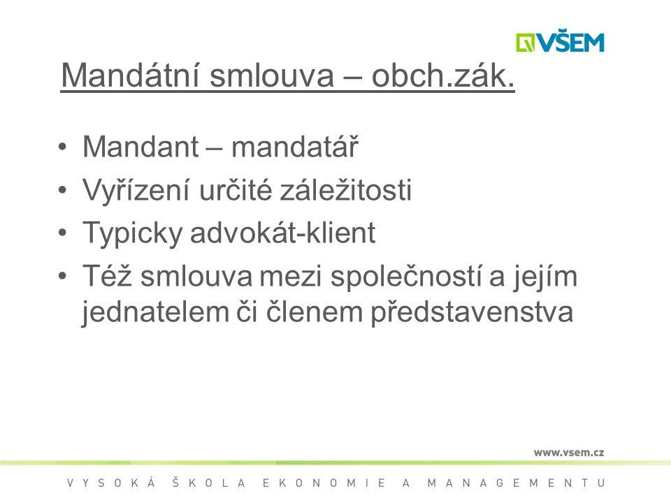 Mandátní smlouva – obch.zák.