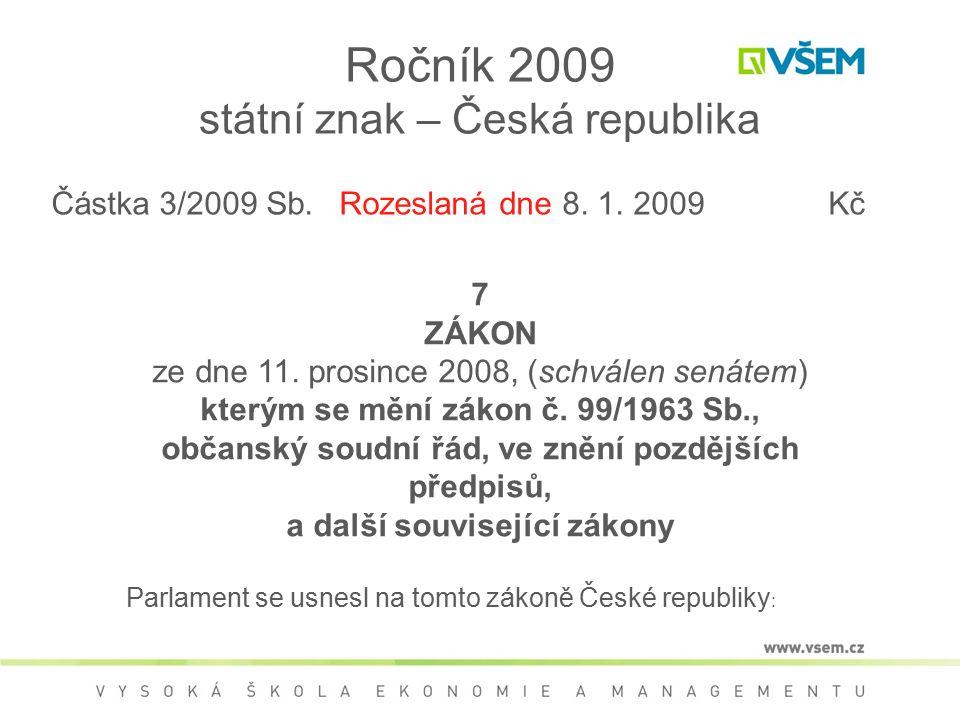 Ročník 2009 státní znak – Česká republika