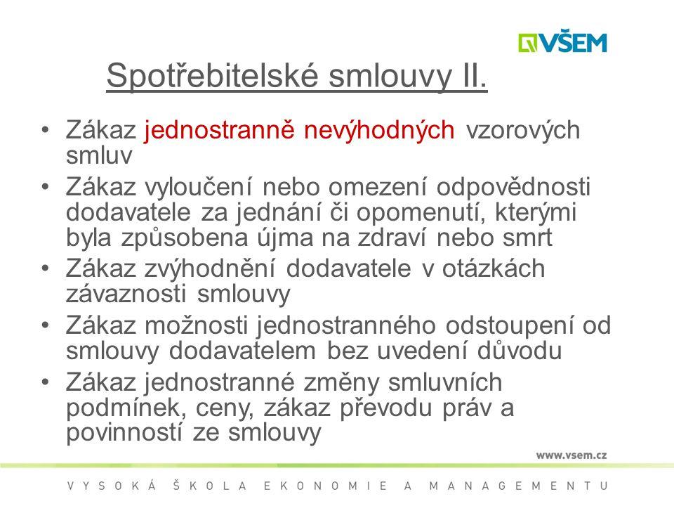 Spotřebitelské smlouvy II.