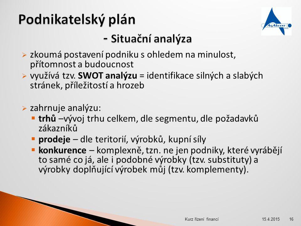 Podnikatelský plán - Situační analýza
