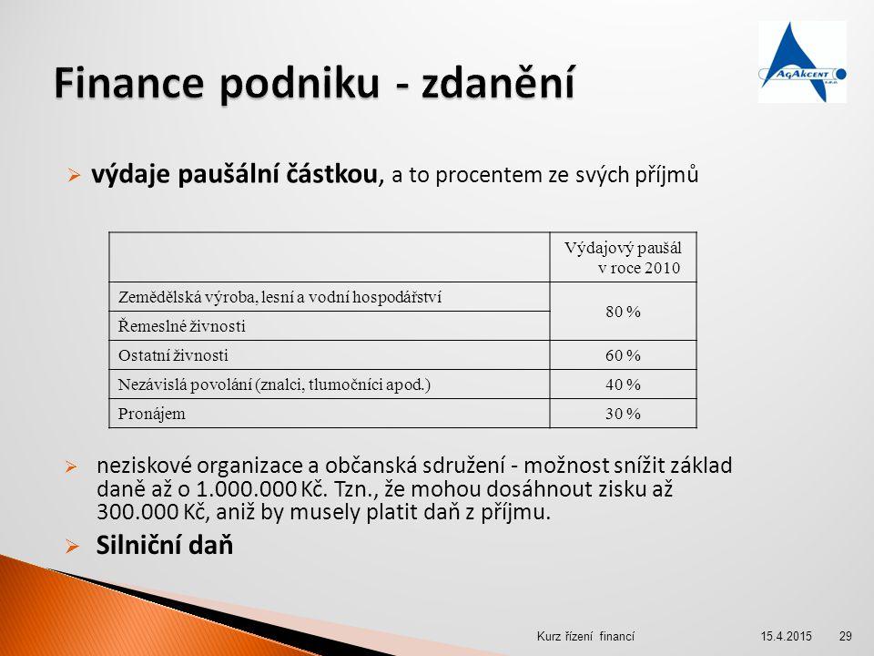 Finance podniku - zdanění