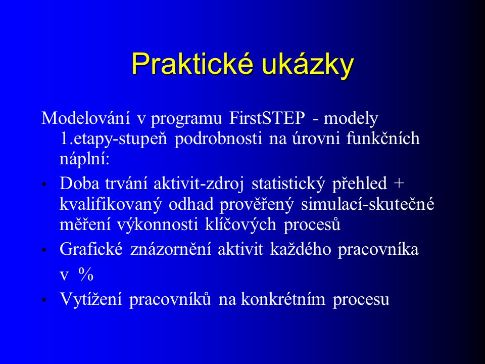 Praktické ukázky Modelování v programu FirstSTEP - modely 1.etapy-stupeň podrobnosti na úrovni funkčních náplní: