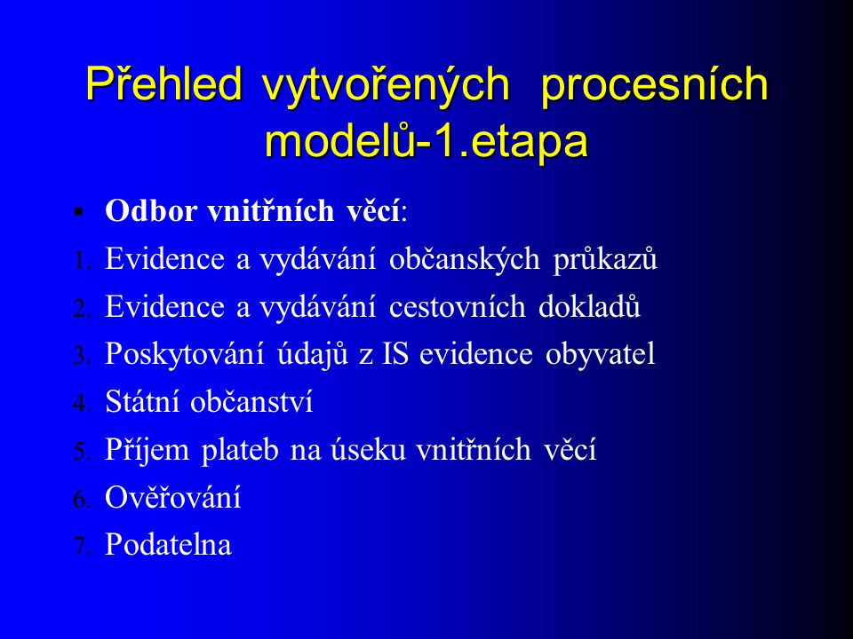 Přehled vytvořených procesních modelů-1.etapa