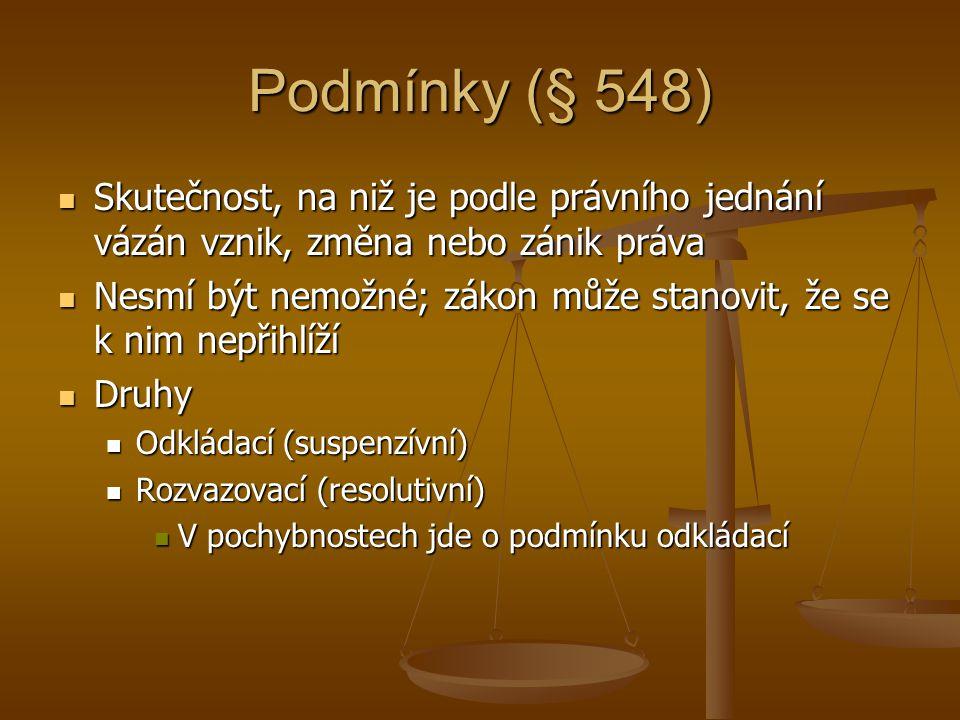 Podmínky (§ 548) Skutečnost, na niž je podle právního jednání vázán vznik, změna nebo zánik práva.