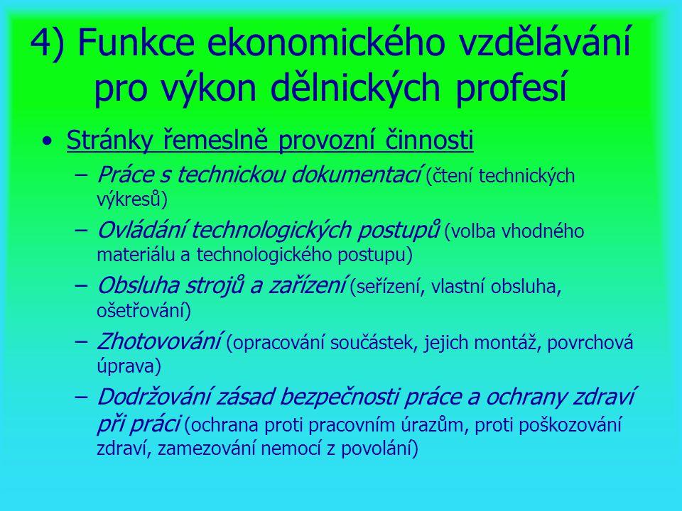 4) Funkce ekonomického vzdělávání pro výkon dělnických profesí