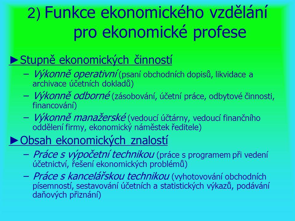 2) Funkce ekonomického vzdělání pro ekonomické profese