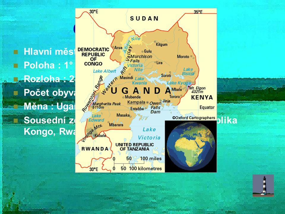 Obecné informace Hlavní město : Kampala Poloha : 1° – 4°S; 29°- 35° V
