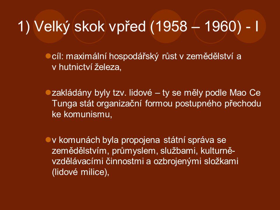 1) Velký skok vpřed (1958 – 1960) - I