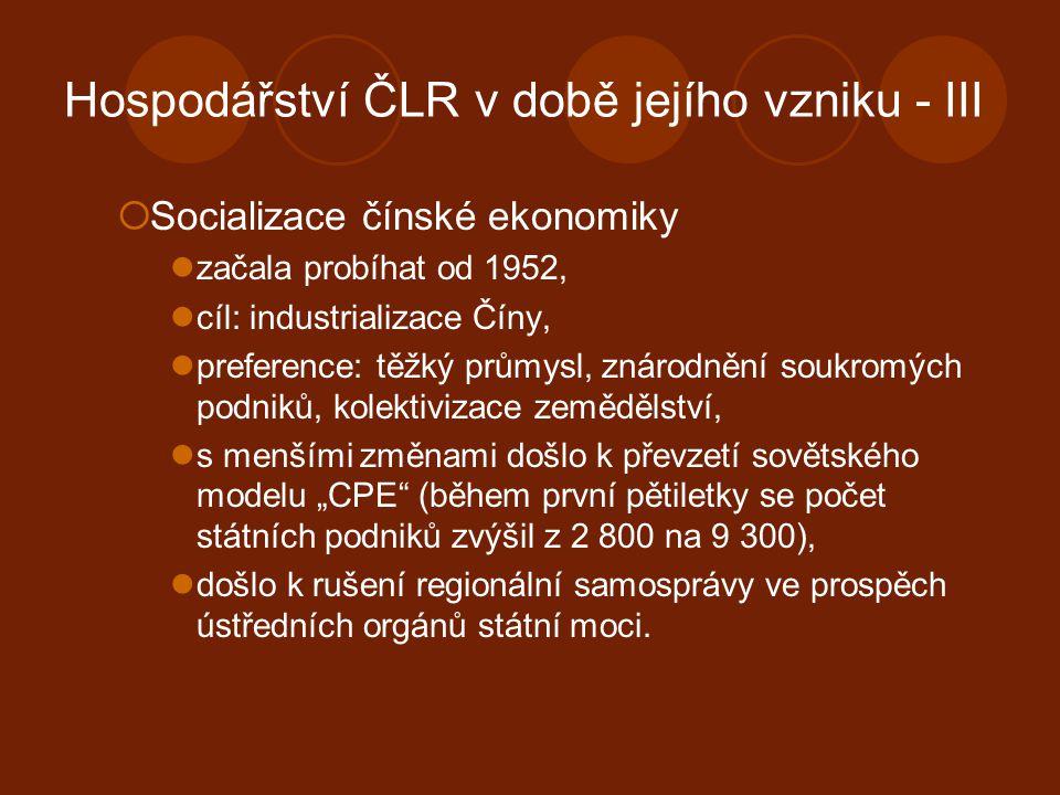 Hospodářství ČLR v době jejího vzniku - III