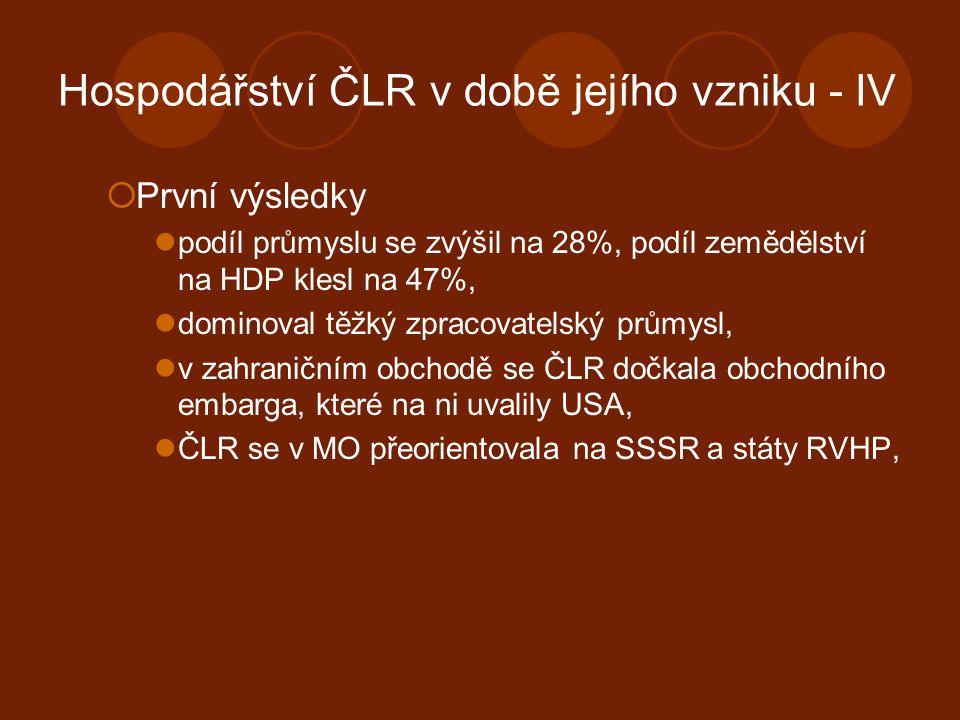 Hospodářství ČLR v době jejího vzniku - IV