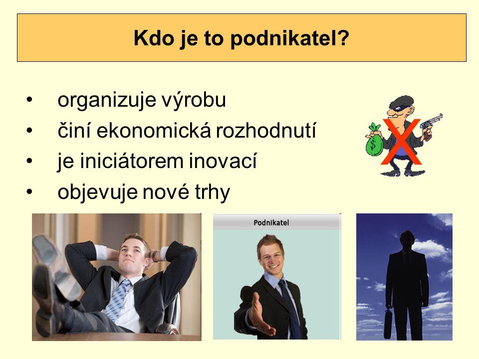 X Kdo je to podnikatel organizuje výrobu činí ekonomická rozhodnutí