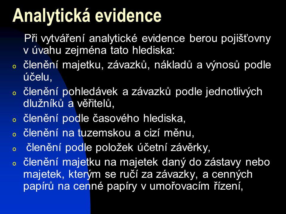 Analytická evidence Při vytváření analytické evidence berou pojišťovny v úvahu zejména tato hlediska: