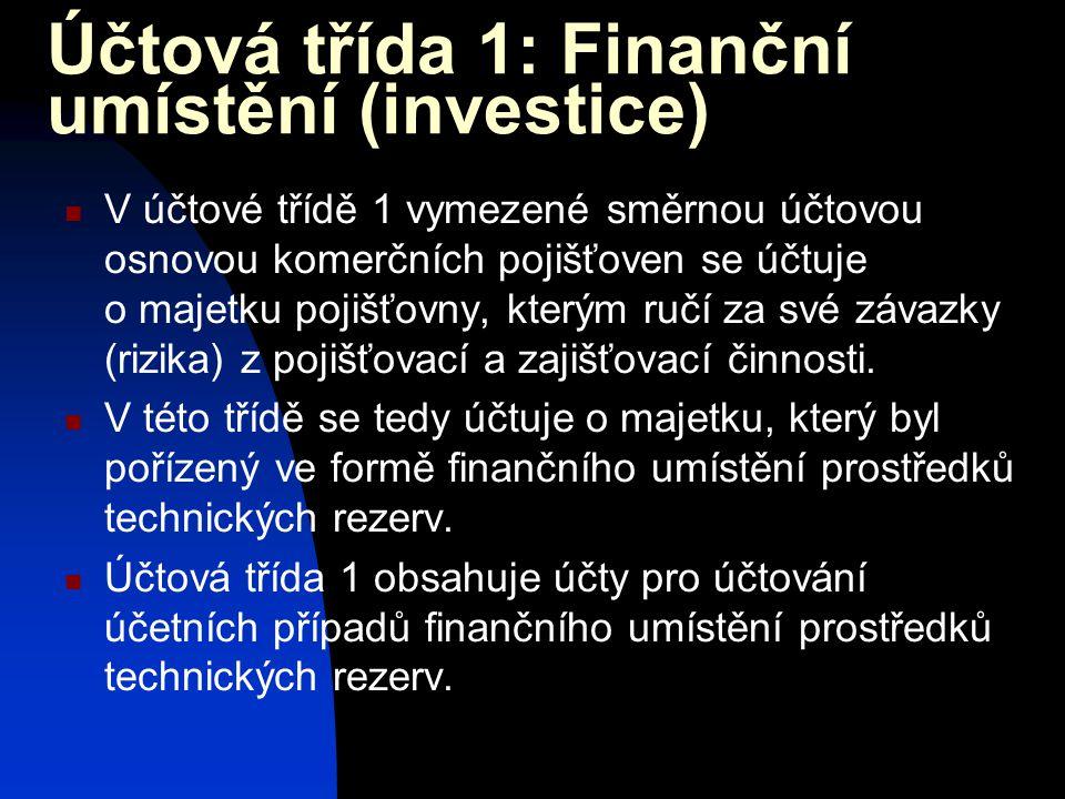 Účtová třída 1: Finanční umístění (investice)