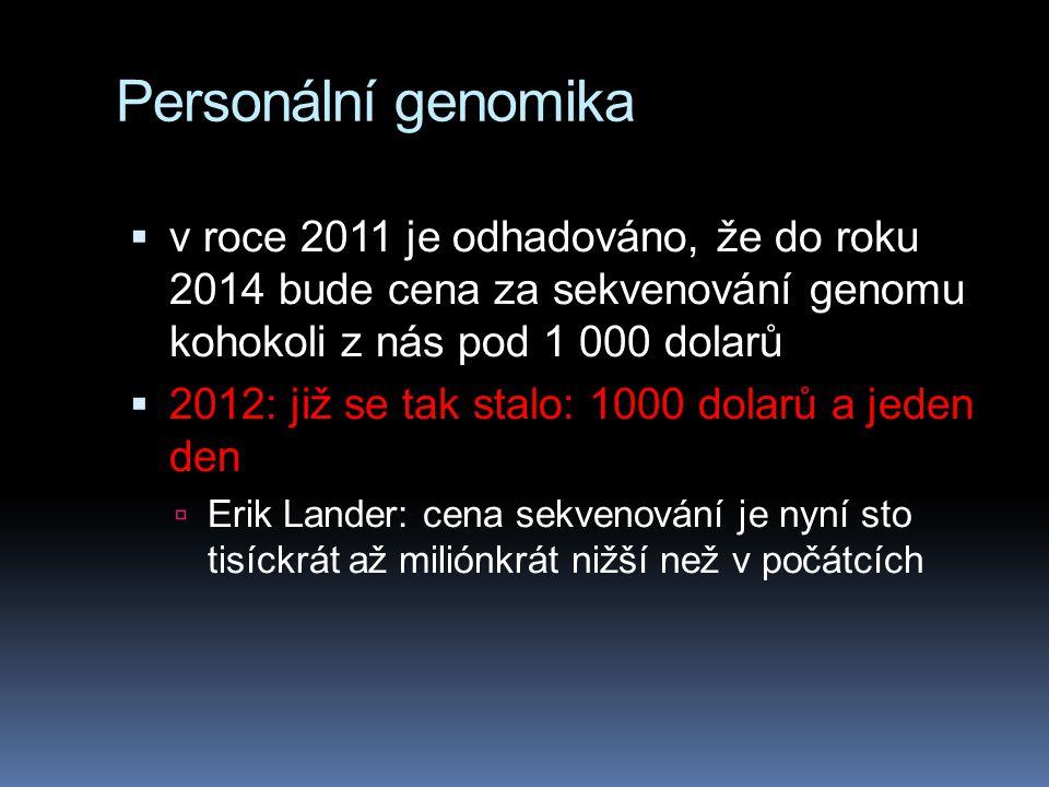 Personální genomika v roce 2011 je odhadováno, že do roku 2014 bude cena za sekvenování genomu kohokoli z nás pod 1 000 dolarů.