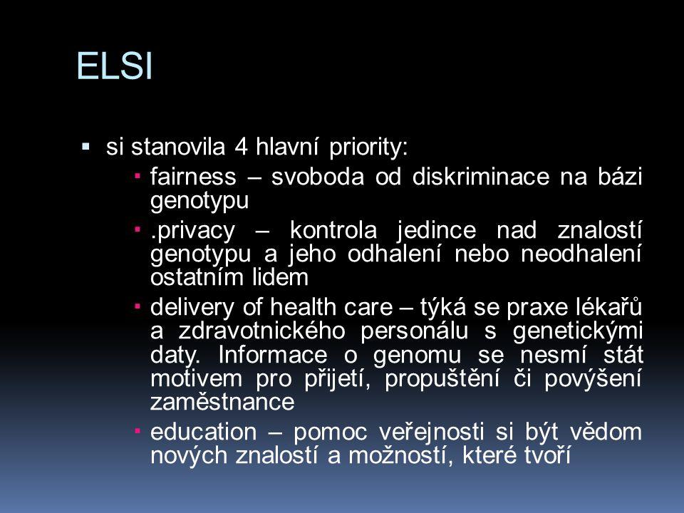 ELSI si stanovila 4 hlavní priority: