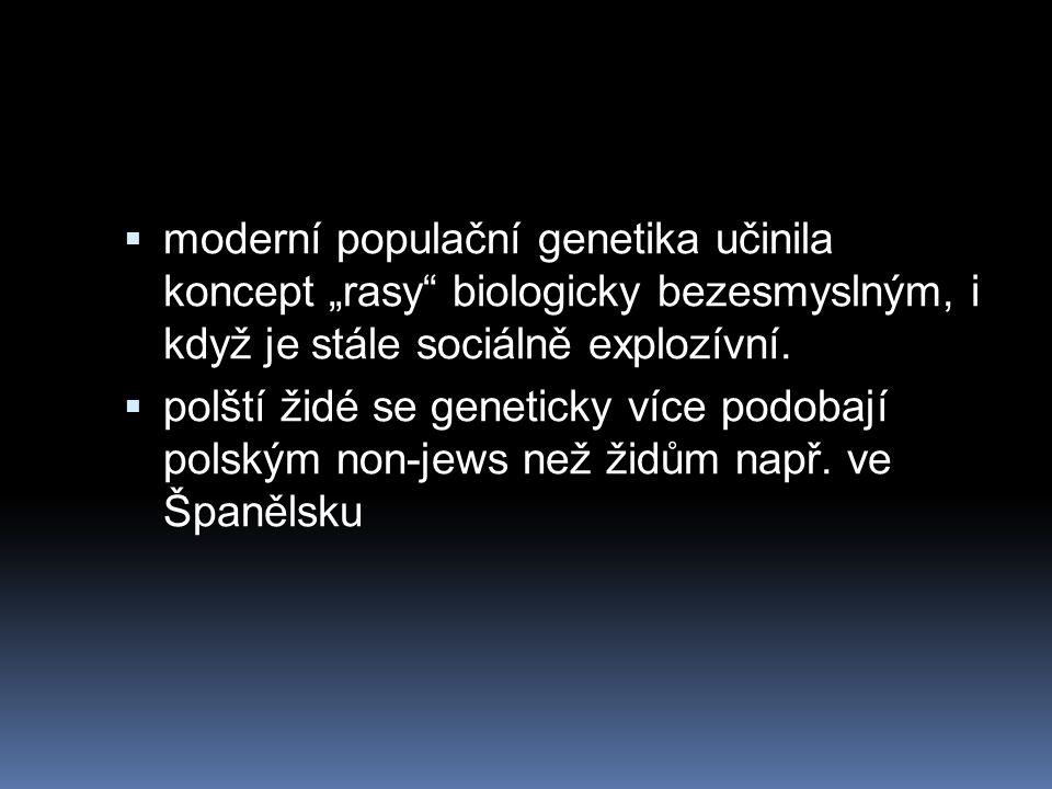 """moderní populační genetika učinila koncept """"rasy biologicky bezesmyslným, i když je stále sociálně explozívní."""