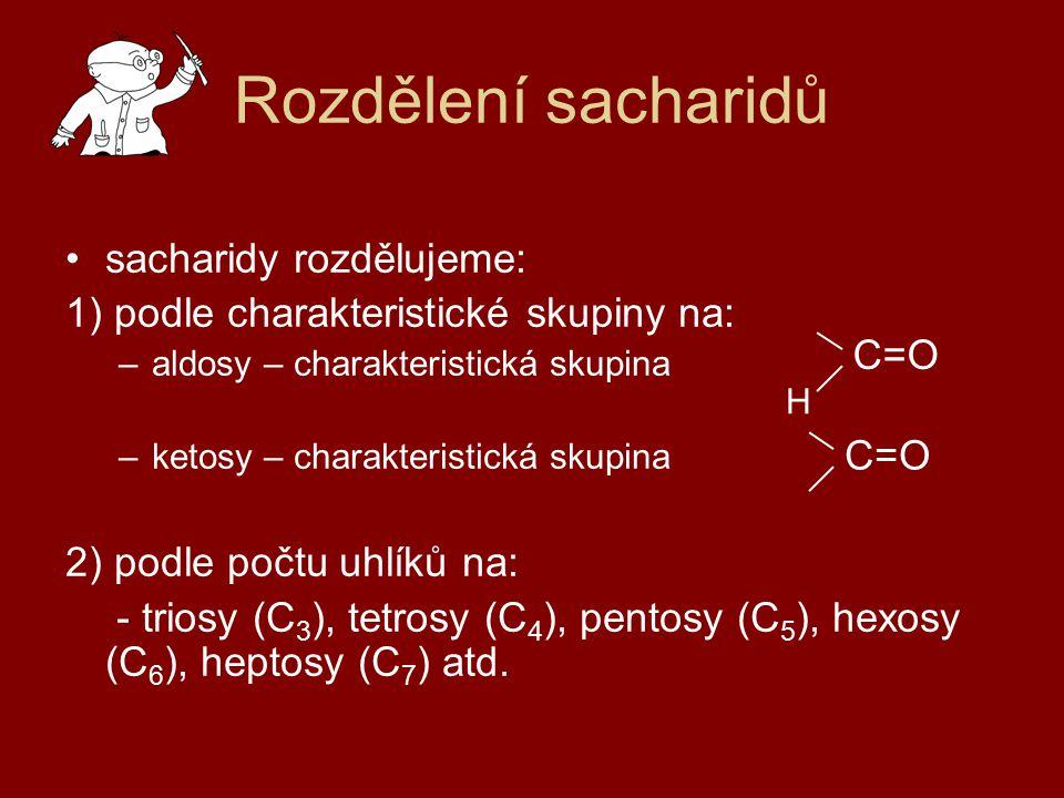 Rozdělení sacharidů sacharidy rozdělujeme: