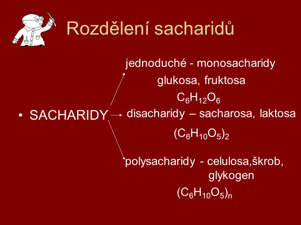 Rozdělení sacharidů jednoduché - monosacharidy SACHARIDY