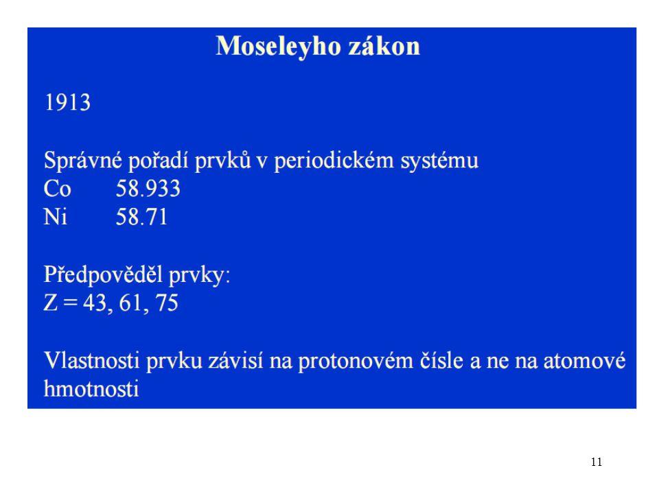 Z pravidelně se opakujících vlastností prvků vyvodil Dmitrij Ivanovič Mendělejev tzv. periodický zákon 1869.