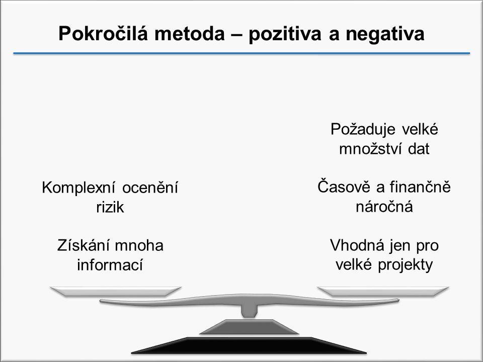 Pokročilá metoda – pozitiva a negativa