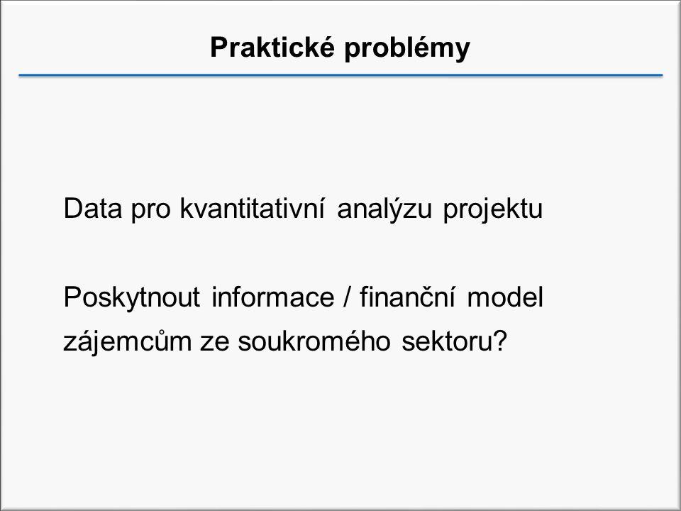Praktické problémy Data pro kvantitativní analýzu projektu.