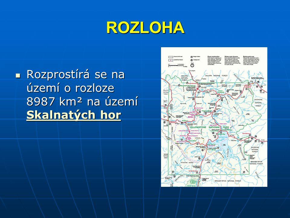 ROZLOHA Rozprostírá se na území o rozloze 8987 km² na území Skalnatých hor