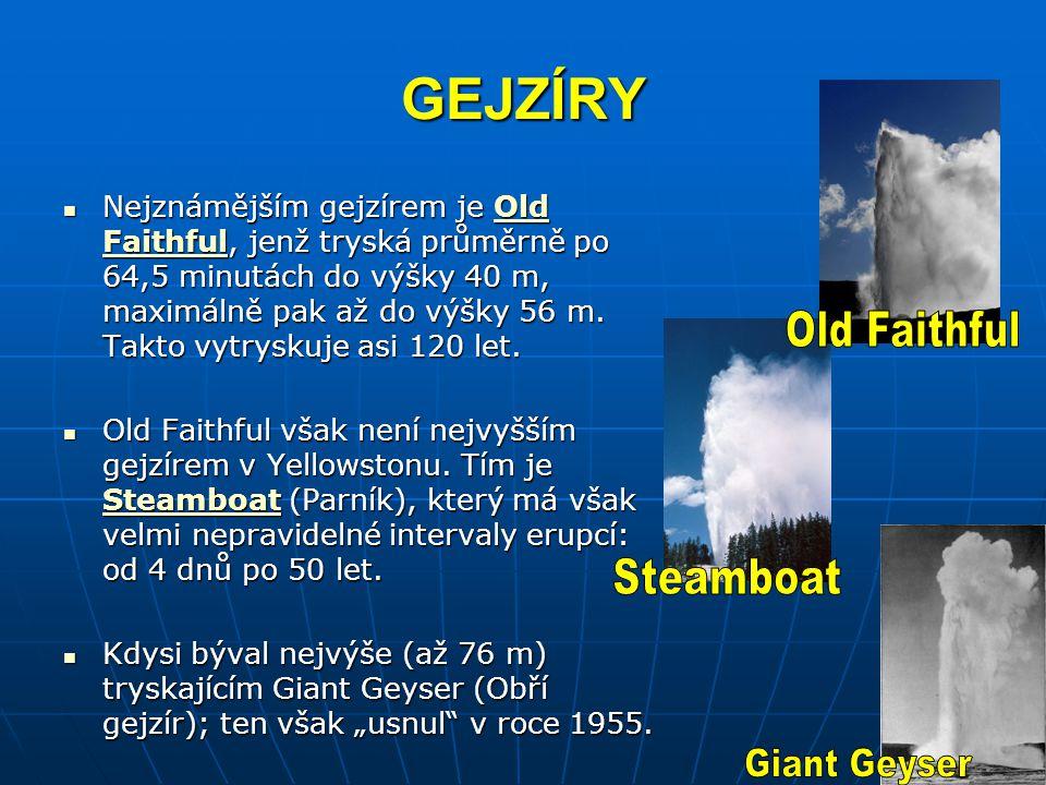 GEJZÍRY Old Faithful Steamboat Giant Geyser