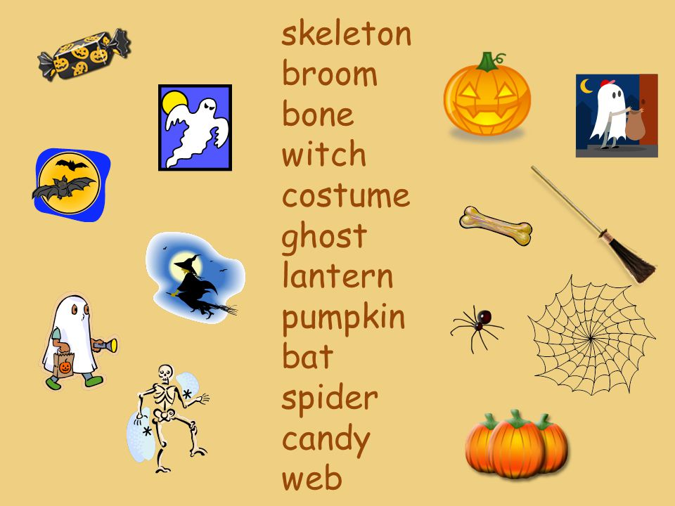 skeleton broom bone witch costume ghost lantern pumpkin bat spider candy web