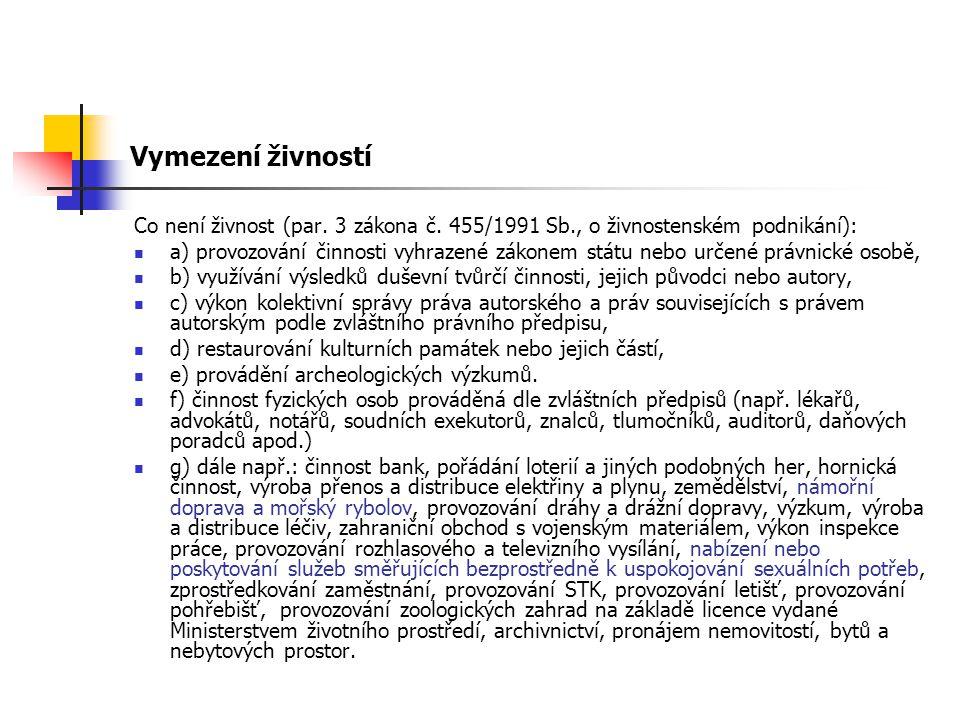 Vymezení živností Co není živnost (par. 3 zákona č. 455/1991 Sb., o živnostenském podnikání):
