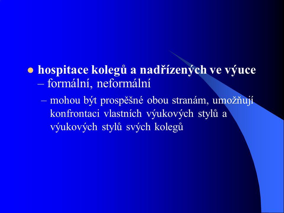 hospitace kolegů a nadřízených ve výuce – formální, neformální