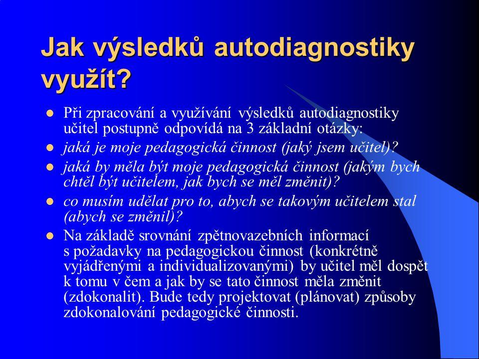 Jak výsledků autodiagnostiky využít