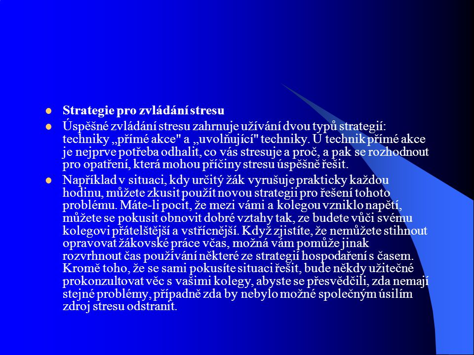 Strategie pro zvládání stresu