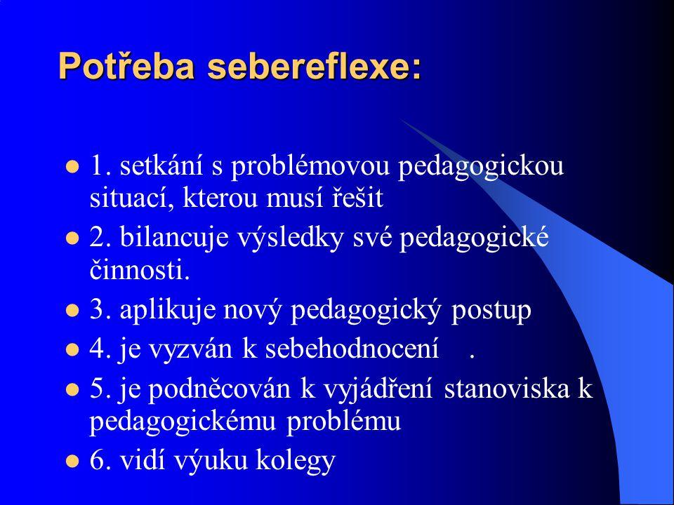 Potřeba sebereflexe: 1. setkání s problémovou pedagogickou situací, kterou musí řešit. 2. bilancuje výsledky své pedagogické činnosti.