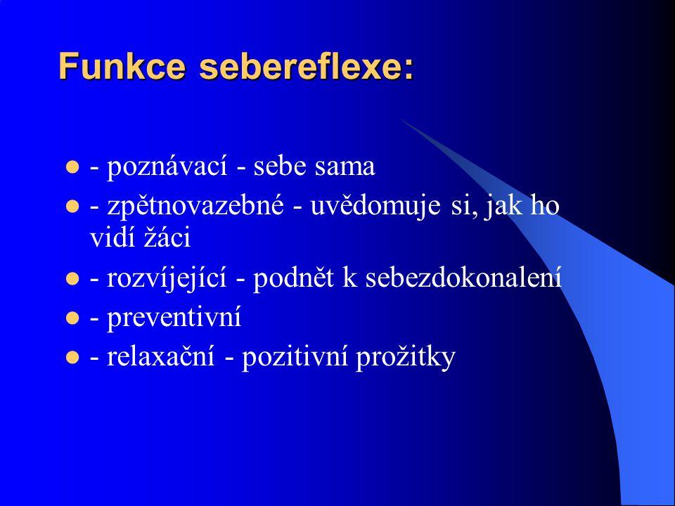Funkce sebereflexe: - poznávací - sebe sama