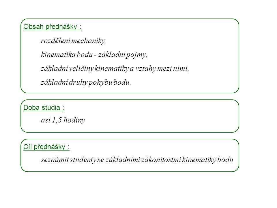 kinematika bodu - základní pojmy,