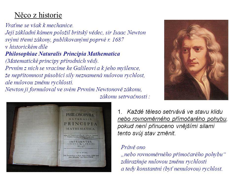 Něco z historie Dynamika I, 1. přednáška Vraťme se však k mechanice.