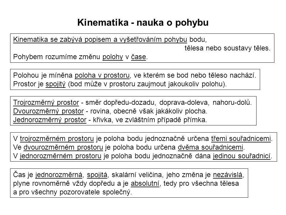 Kinematika - nauka o pohybu