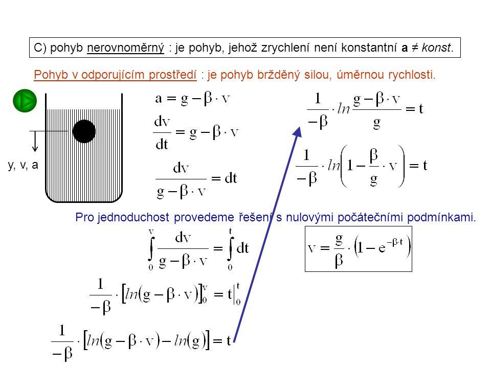 Dynamika I, 1. přednáška C) pohyb nerovnoměrný : je pohyb, jehož zrychlení není konstantní a ≠ konst.