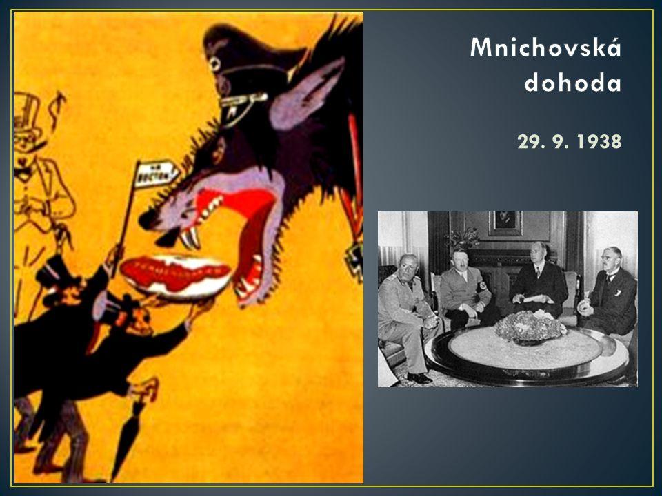 Mnichovská dohoda 29. 9. 1938