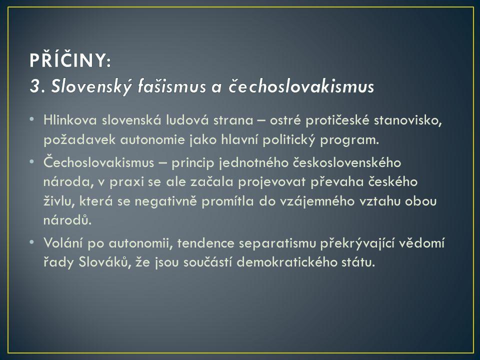 PŘÍČINY: 3. Slovenský fašismus a čechoslovakismus