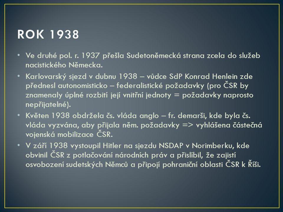 ROK 1938 Ve druhé pol. r. 1937 přešla Sudetoněmecká strana zcela do služeb nacistického Německa.