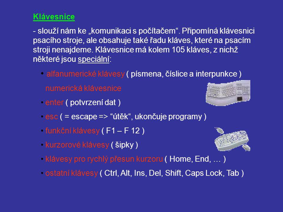 alfanumerické klávesy ( písmena, číslice a interpunkce )