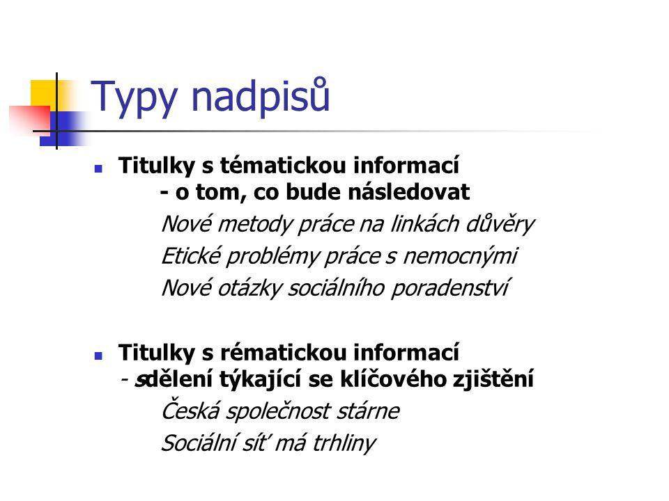 Typy nadpisů Titulky s tématickou informací