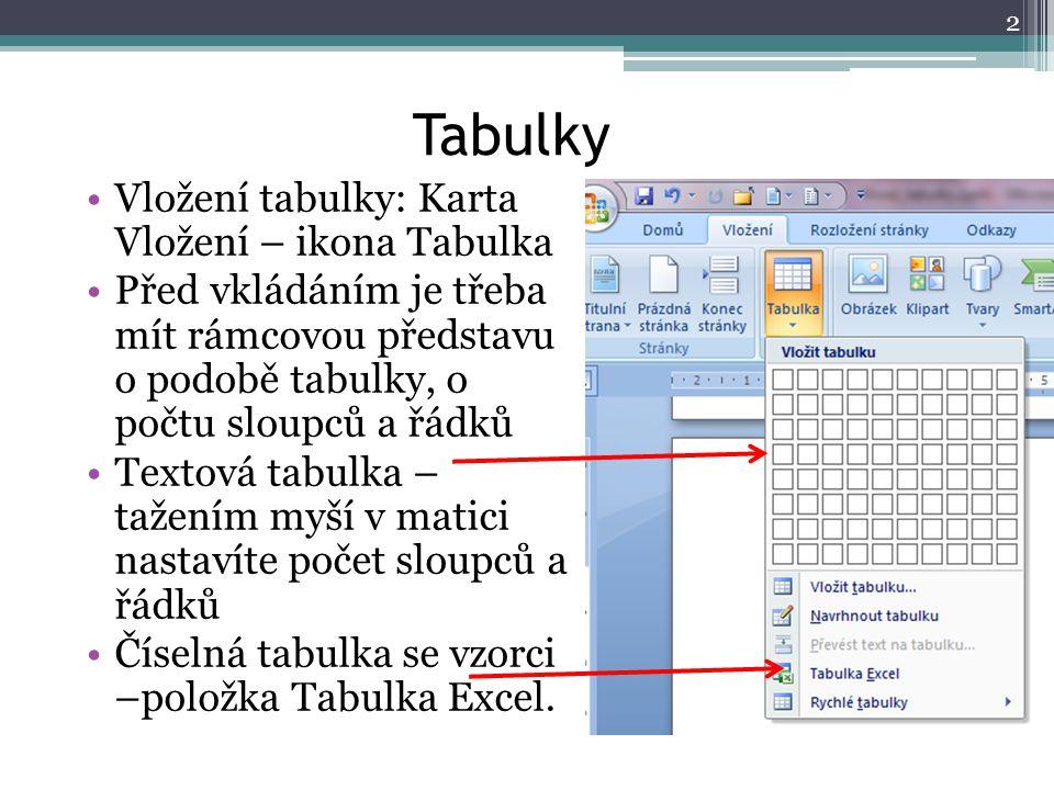 Tabulky Vložení tabulky: Karta Vložení – ikona Tabulka