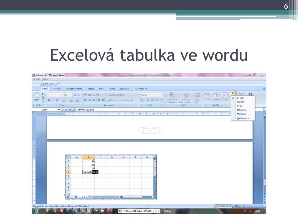 Excelová tabulka ve wordu