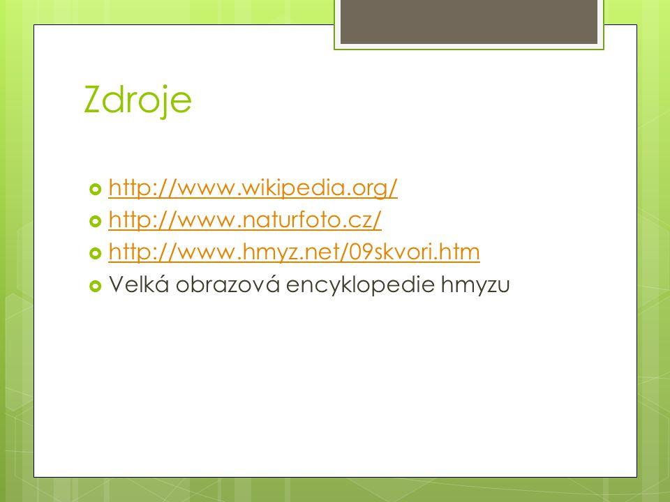 Zdroje http://www.wikipedia.org/ http://www.naturfoto.cz/