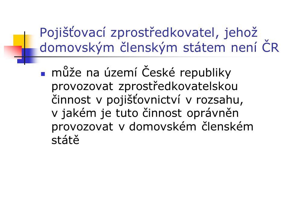 Pojišťovací zprostředkovatel, jehož domovským členským státem není ČR