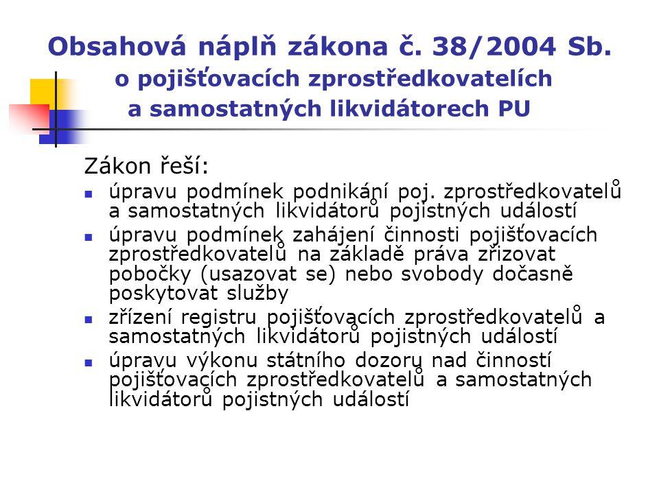 Obsahová náplň zákona č. 38/2004 Sb