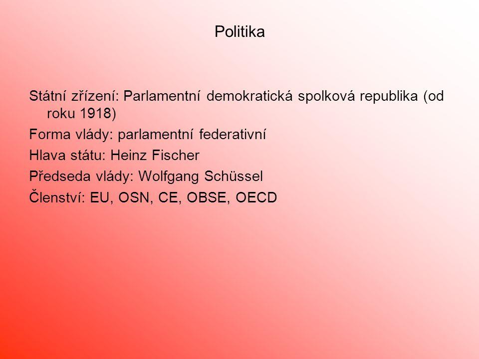 Politika Státní zřízení: Parlamentní demokratická spolková republika (od roku 1918) Forma vlády: parlamentní federativní.